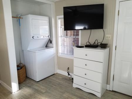 Click to enlarge image New stackable in the 2nd bedroom - The Light House, Charming 2BR, Dog Friendly, Screened Porch - Private Home, Sleeps 6, Fenced Yard, Walk to shopping.